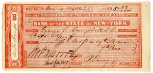 Bank of the State of New-York signed by Robt. H. Morris -  Autographed Check