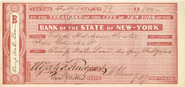 Bank of the State of New-York signed by Elijah F. Purdy -  Autographed Check