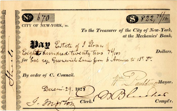 City of New-York at the Mechanics' Bank signed by William Paulding, Jr. -  Autographed Check