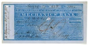 City of New-York at the Mechanics' Bank signed by Jacob A. Westervelt -  Autographed Check