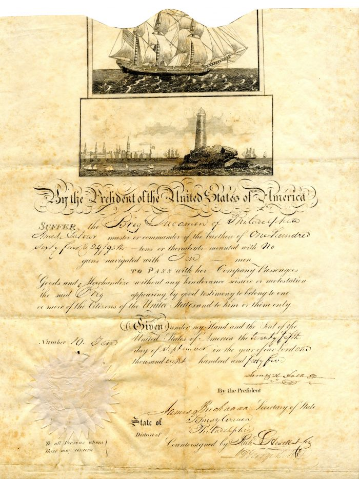 Ships Passport signed by Polk and Buchanan - Autographs
