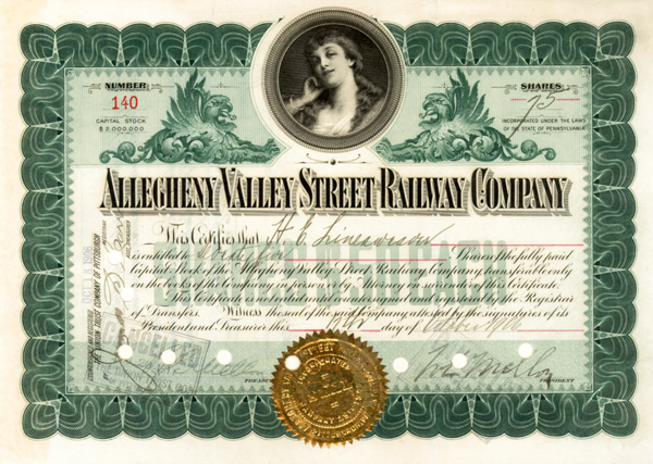 Allegheny Valley Street Railway signed by Richard B. Mellon & William Larimer Mellon, Sr. - Stock Certificate