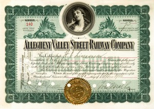 Allegheny Valley Street Railway signed by Richard B. Mellon & William Larimer Mellon, Sr.