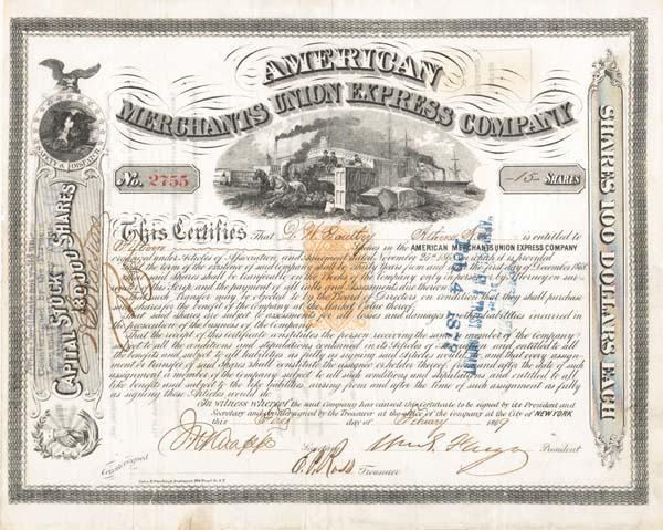 American Merchants Union Express signed by William G. Fargo - Stock Certificate (Uncanceled)