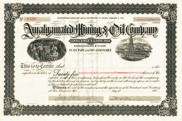 Amalgamated Mining & Oil Company - Stock Certificate