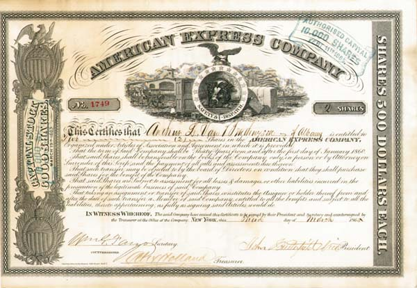 John Butterfield & William G. Fargo - American Express Company - Stock Certificate - SOLD