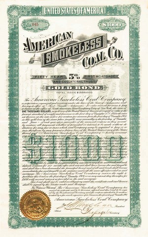 American Smokeless Coal Co. - $1000 - Bond