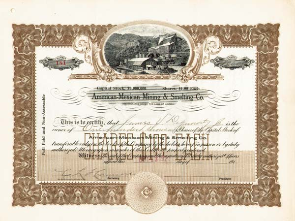 American-Mexican Mining and Smelting Co. - Stock Certificate