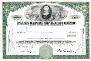 American Telephone & Telegraph - 50 Pieces - Stock Certificate