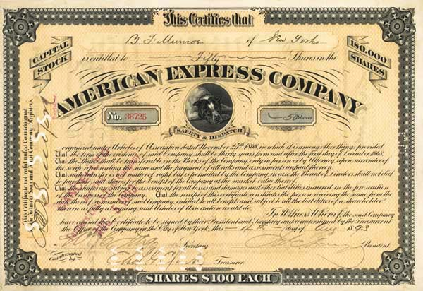 James C. Fargo & William C. Fargo - American Express Co - Unique - Stock Certificate
