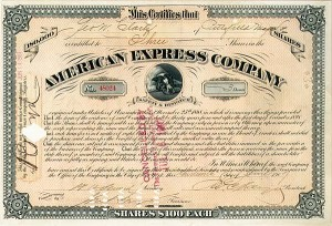 James C. Fargo, James F. Fargo, & William H. Seward, Jr. - American Express Company - Stock Certificate