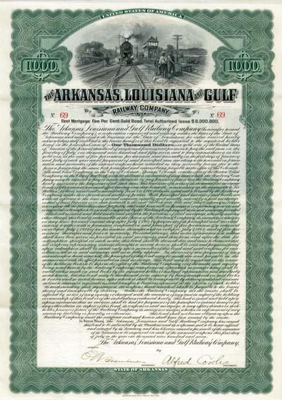 Arkansas, Louisiana & Gulf Railway - Bond