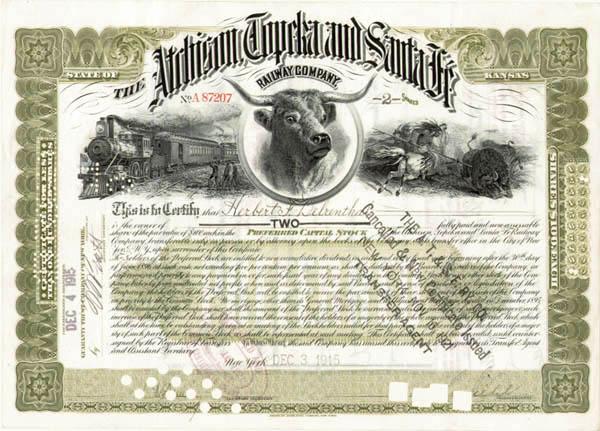 Atchison, Topeka and Santa Fe Railroad Company - Stock Certificate