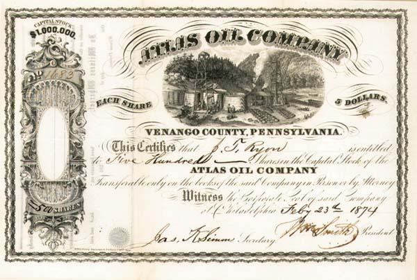 Atlas Oil Company - Stock Certificate