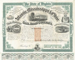 Atlantic Mississippi and Ohio Rail Road Co Uncanceled $1,000 Gold Bond signed by General William Mahone