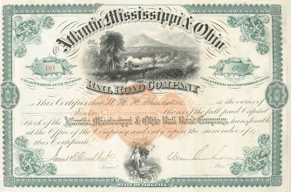 General William Mahone - Atlantic Mississippi & Ohio Railroad - Stock Certificate