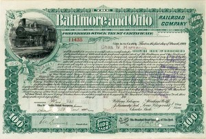 Baltimore & Ohio Railroad issued to and signed by Charles W. Harkness - Stock Certificate