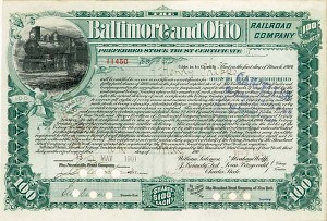 Baltimore & Ohio Railroad Stock issued to Henry Phipps and signed for by his brother, John Phipps - Stock Certificate