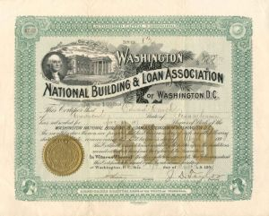 Washington National Building & Loan Association - $100 Bond - SOLD
