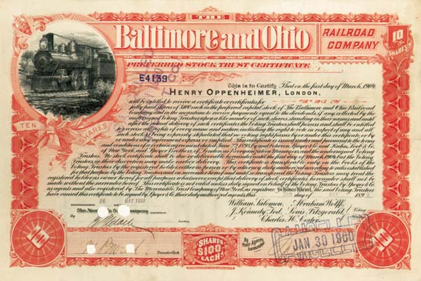 Henry Oppenheimer - London - Baltimore & Ohio Railroad - Stock Certificate