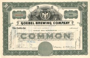 Goebel Brewing Company - Stock Certificate