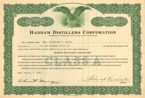 Haddam Distillers Corporation - Stock Certificate