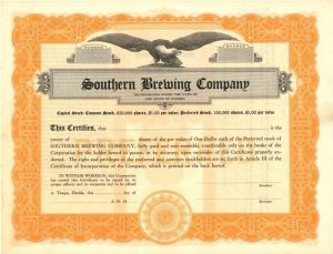 Southern Brewing Company - Stock Certificate