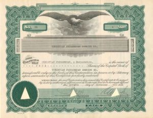 Christian Feigenspan Brewing Co. - Stock Certificate - SOLD