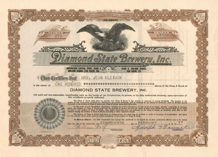 Diamond State Brewery, Inc. - Stock Certificate - SOLD