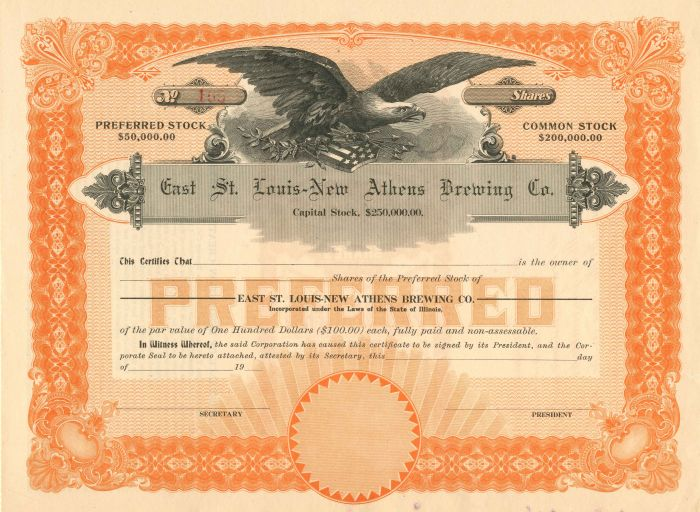 East St. Louis-New Athens Brewing Co. - Stock Certificate - SOLD