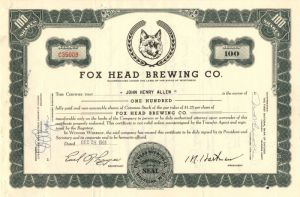 Fox Head Brewing Co. - Stock Certificate - SOLD