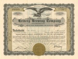 Heiberg Brewing Company - Stock Certificate - SOLD