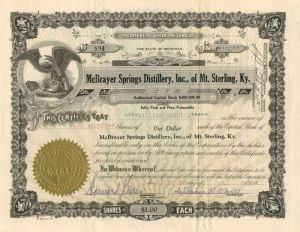McBrayer Springs Distillery, Inc., of Mt. Sterling, Ky. - Stock Certificate