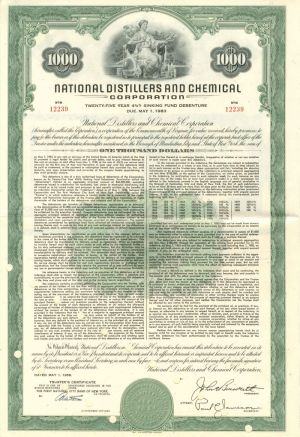 National Distillers and Chemical Corporation - $1,000 - Bond - SOLD