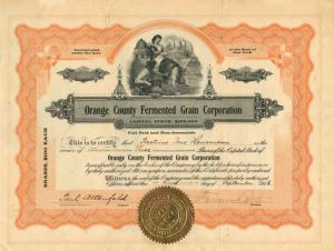 Orange County Fermented Grain Corporation - Stock Certificate - SOLD