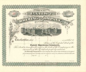Pabst Brewing Company, Milwaukee, Wis. - Stock Certificate