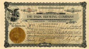 Park Brewing Company - Stock Certificate - SOLD