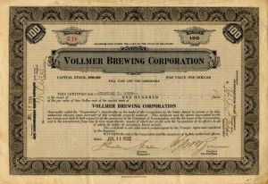 Vollmer Brewing Corporation - Stock Certificate