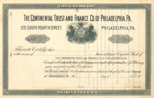 Continental Trust and Finance Co. of Philadelphia, PA. - Certificate #1