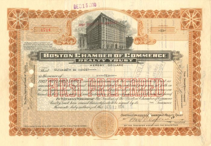 Boston Chamber of Commerce Realty Trust - Stock Certificate