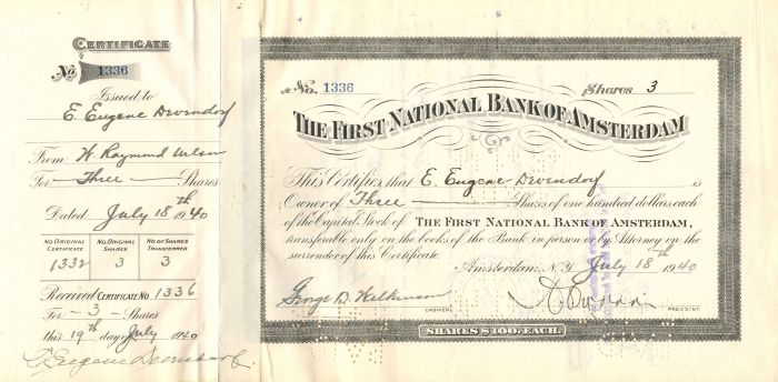 First National Bank of Amsterdam - Stock Certificate