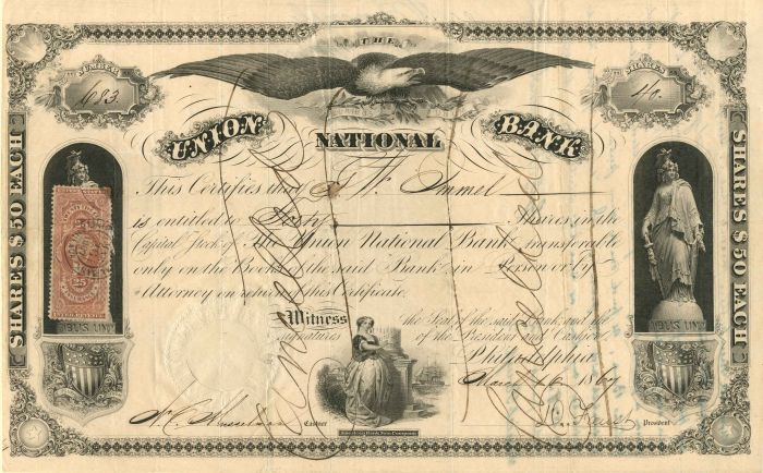 Union National Bank - Stock Certificate