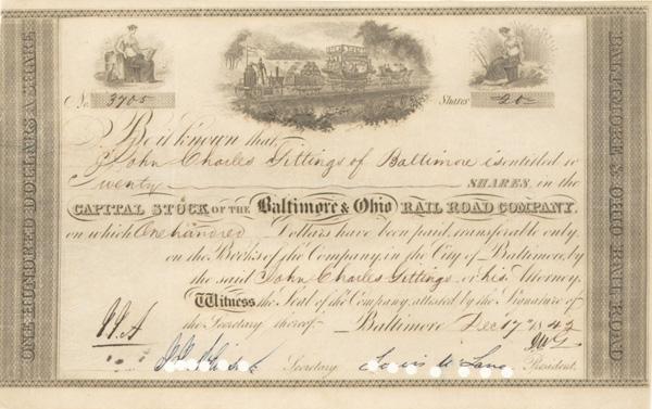Louis McLane - Baltimore & Ohio Railroad - Stock Certificate