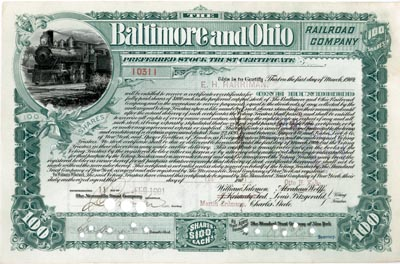 Baltimore and Ohio Railroad Company signed by E H Harriman - Stock Certificate