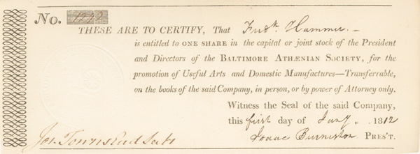 Baltimore Athaenian Society - Stock Certificate