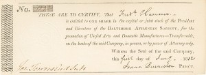 Baltimore Athaenian Society - Stock Certificate - SOLD