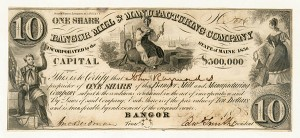 Bangor Mill & Manufacturing Co - Stock Certificate