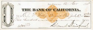 Leland Stanford Check - Bank of California - SOLD