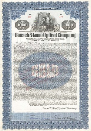 Carl Lomb - Bausch and Lomb Optical Co $1,000 Uncanceled Gold Bond signed by Carl Lomb