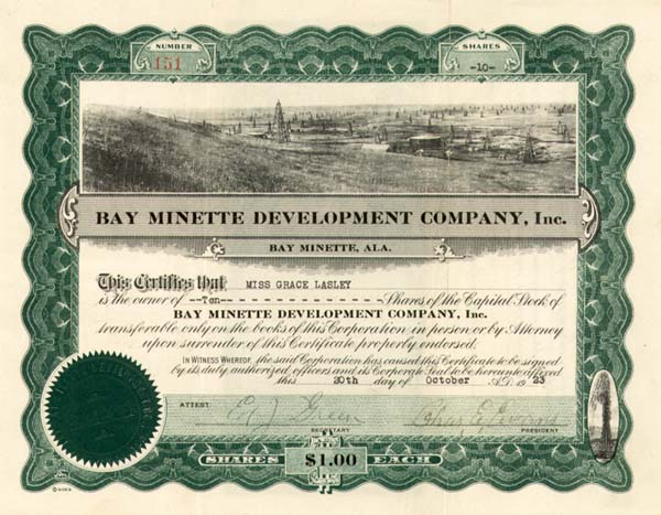 Bay Minette Development Co, Inc - Stock Certificate
